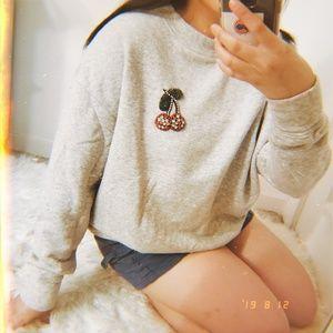 H&M Bedazzled Cherry Design on Grey Sweatshirt